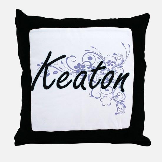Keaton surname artistic design with F Throw Pillow