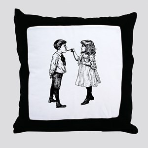 Cough Medicine Two Children Throw Pillow