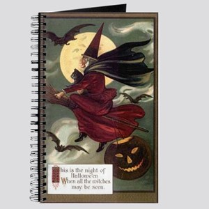 Vintage Halloween Flying Witc Journal