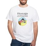 Fibromyalgia Tired Woman White T-Shirt