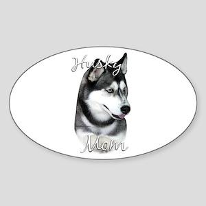 Husky Mom2 Oval Sticker