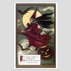 Vintage Halloween Flying Witc Large Poster