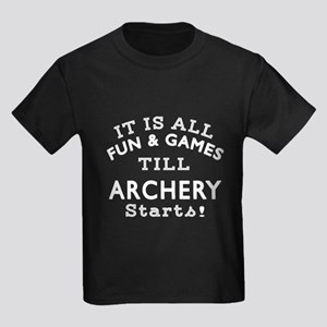 Archery Fun And Games Designs Kids Dark T-Shirt