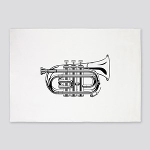 Pocket trumpet b flat b and w 5'x7'Area Rug