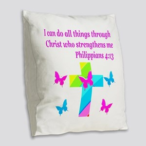 PHILIPPIANS 4:13 Burlap Throw Pillow