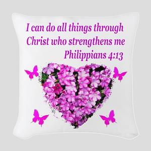 PHILIPPIANS 4:13 Woven Throw Pillow
