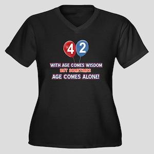 Funny 42 wis Women's Plus Size V-Neck Dark T-Shirt