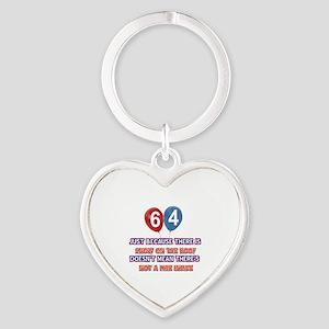 64 year old designs Heart Keychain