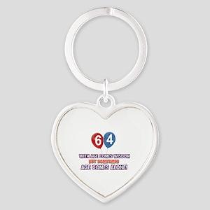 Funny 64 wisdom saying birthday Heart Keychain