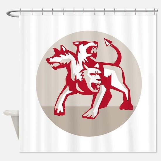 Cerberus Multi-headed Dog Hellhound Circle Retro S