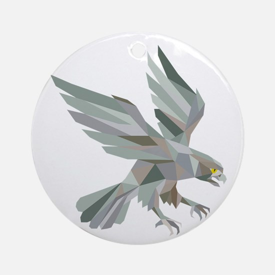 Peregrine Falcon Swooping Grey Low Polygon Round O