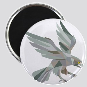 Peregrine Falcon Swooping Grey Low Polygon Magnets