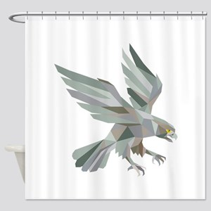Peregrine Falcon Swooping Grey Low Polygon Shower