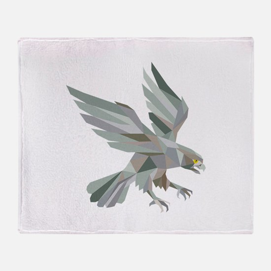 Peregrine Falcon Swooping Grey Low Polygon Throw B