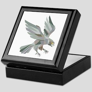 Peregrine Falcon Swooping Grey Low Polygon Keepsak