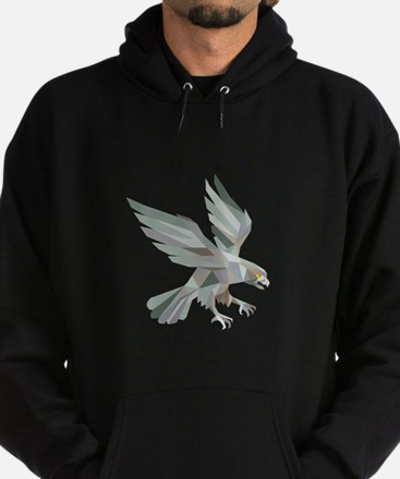 Peregrine Falcon Swooping Grey Low Polygon Hoodie