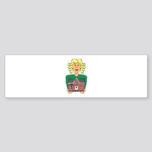 Real estate agent holding house Bumper Sticker
