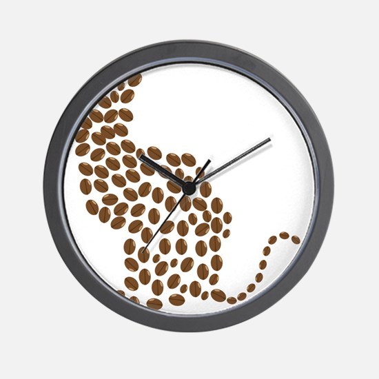 Coffee bean cat Wall Clock
