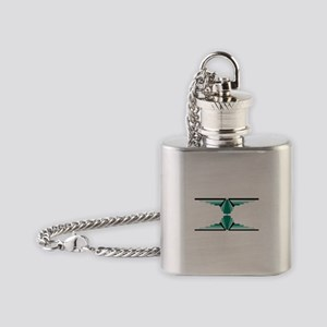 Art deco patterns in aqua Flask Necklace