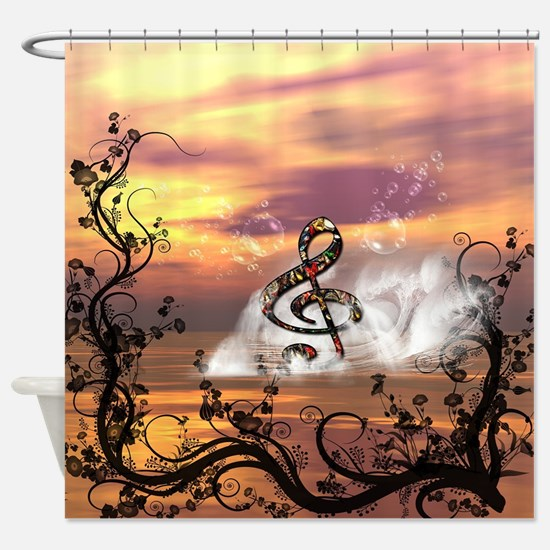 Wonderful colorful clef in the ocean Shower Curtai