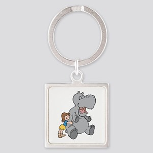 Hippo and Girl Keychains