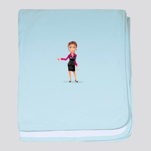 Cartoon Smart Business Girl Character baby blanket