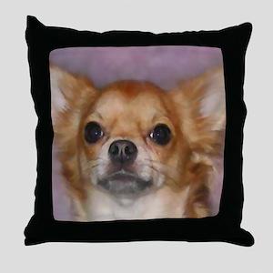 Long Coat Chihuahua Throw Pillow