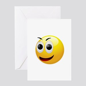 Excited Smiley Greeting Cards