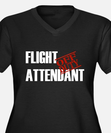 Off Duty Flight Attendant Women's Plus Size V-Neck
