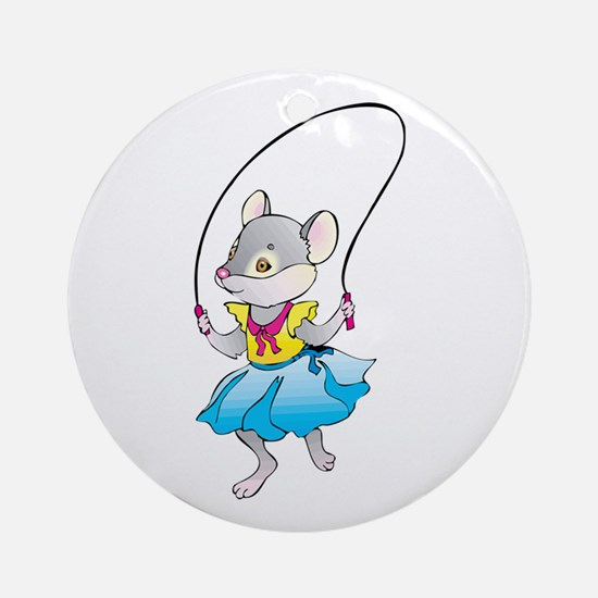 Mouse Jumping Rope Round Ornament