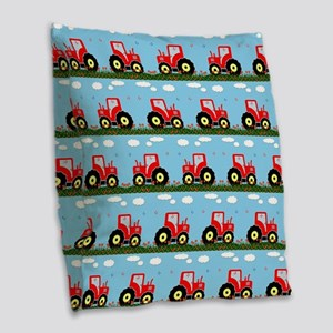 Toy tractor pattern Burlap Throw Pillow