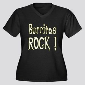 Burritos Rock ! Women's Plus Size V-Neck Dark T-Sh
