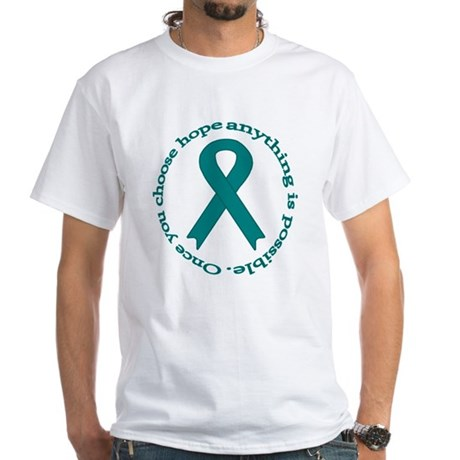 Teal Hope White T-Shirt