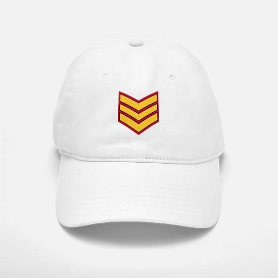 Sergeant Chevrons<BR> White Baseball Baseball Cap