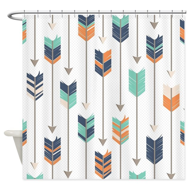 orange and navy shower curtain.  Tribal Arrows Pattern Navy Orange Shower Curtain by cutetoboottoo