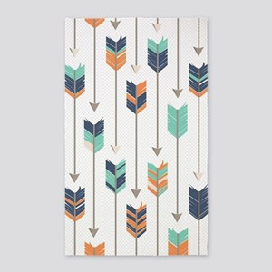 Tribal Arrows Pattern - Navy Orange and M Area Rug