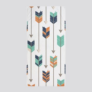 Tribal Arrows Pattern - Navy Orange an Beach Towel