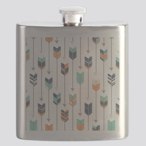 Tribal Arrows Pattern - Navy Orange and Mint Flask