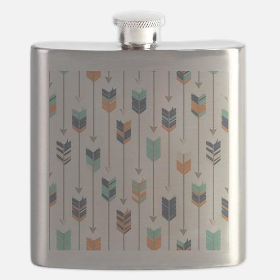 Tribal Arrows Pattern - Navy Orange and Mint Flask