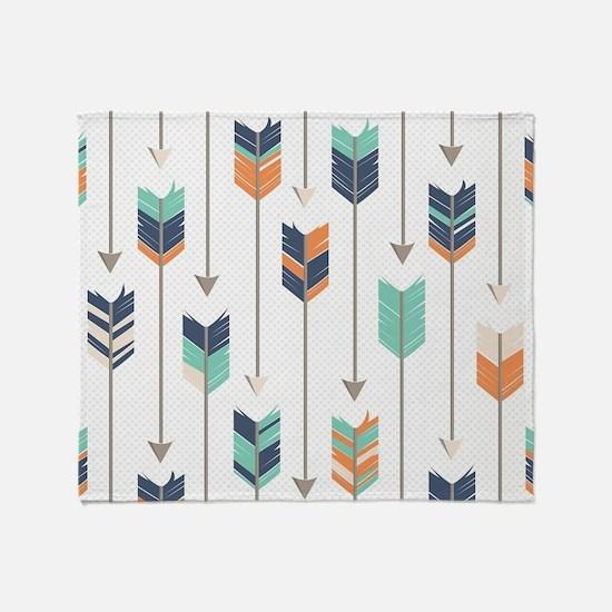 Tribal Arrows Pattern - Navy Orange Throw Blanket
