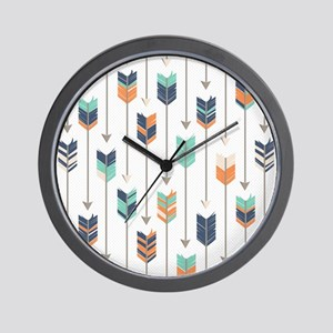 Tribal Arrows Pattern - Navy Orange and Wall Clock