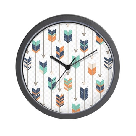 Tribal Arrows Pattern   Navy Orange And Wall Clock
