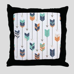 Tribal Arrows Pattern - Navy Orange a Throw Pillow