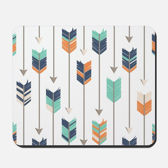 Tribal Arrows Pattern - Navy Orange and Mousepad