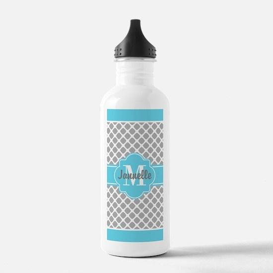 Gray Aqua Girly Cute M Sports Water Bottle