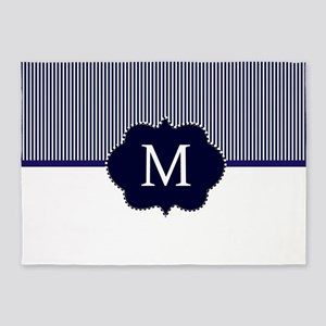 Elegant Monogram in Navy and White 5'x7'Area Rug