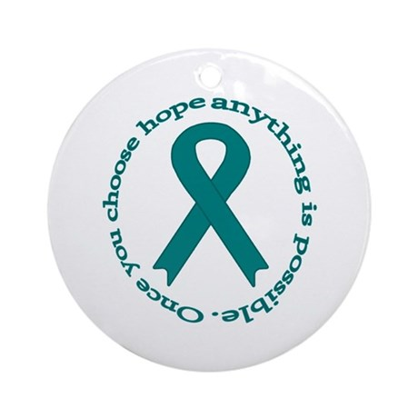 Teal Hope Ornament (Round)