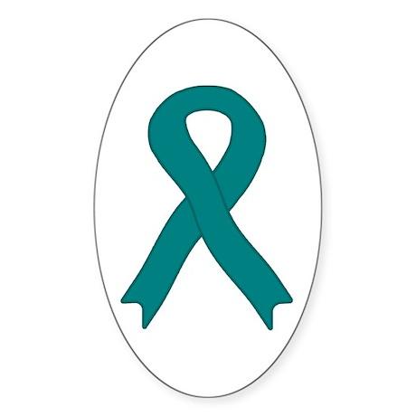 Teal Ribbon Oval Sticker