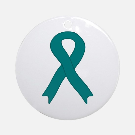 Teal Ribbon Ornament (Round)