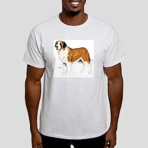 Saint Bernard Dog (Front) Ash Grey T-Shirt